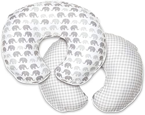 Boppy Premium Nursing Pillow Cover, Gray Elephants Plaid, Ultra-soft Microfiber Fabric in a fashionable two-sided des...