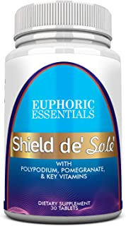 Shield de' Sole' Natural Skin Care with Polypodium Extract 240mg, Pomegranate and Key Natural antioxodants Ingredients with FernBlock and PLE Technology.