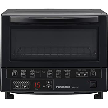 Panasonic FlashXpress Compact Toaster Oven with Double Infrared Heating, Crumb Tray and 1300 Watts of Cooking Power – 4 Slice Countertop Toaster Oven - NB-G110P-K (Black)
