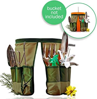 Handy Bucket Caddy Fit 5 Gallon Home Depot Bucket | New Design Military Grade 600D Oxford Cloth Gardening Organizer Caddy with 10 Pockets for 13.7 x 9.8 inches, Machine Safe Series Green