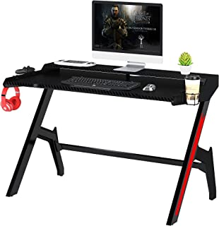 Mahmayi Ultimate GT007 Modern Gaming Table, Carbon Fibre texture with Gear hook, Cup holder and Controller holder - Black ...