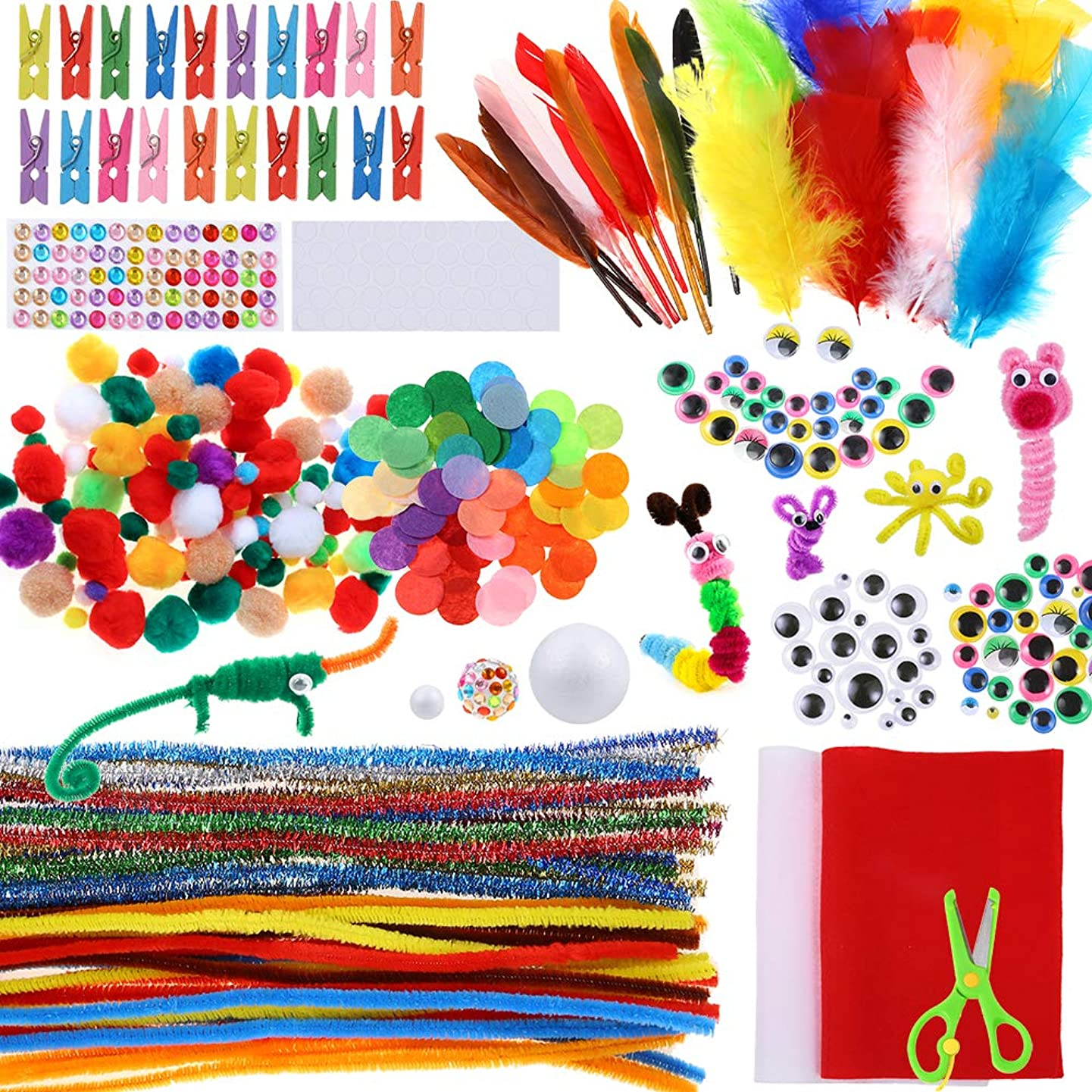 Caydo Assorted Pipe Cleaner Craft Kit Chenille Stems Pom Poms Wiggle Googly Eyes Feather and Felt, Foam Balls for Kids DIY Art Supplies Set?