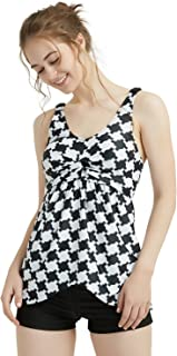 Women's Padded Tankini Top Bikini Set Plus Size Houndstooth Retro Two Pieces Bathing Suits Swimwear