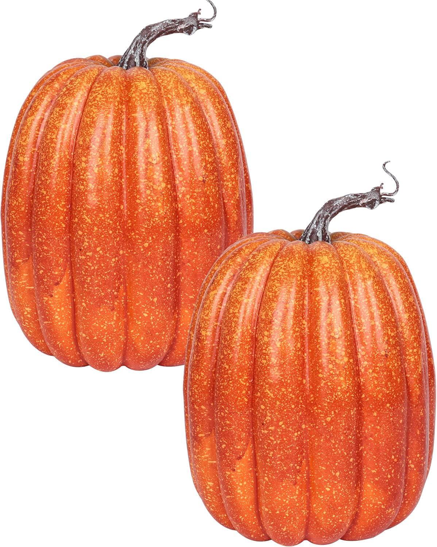 Brand new 8 Inch Large Orange Fake Pumpkins Big Decorating Deco for Gifts 2PCS -