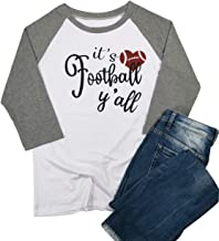 It's Football Y'all Letter T Shirt for Women Love Heart Football Game Day Raglan 3/4 Sleeve Tops Tee