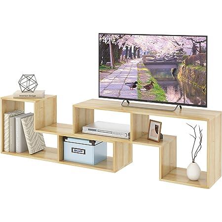 REYADE テレビ台 テレビボード ローボード 伸縮幅約105~210cm 32から62V型 対応 コーナー活用 片方設置できる Switch Wii AV機器対応 フルオープン 配線しやすい 2セット 組み立て ナチュラル