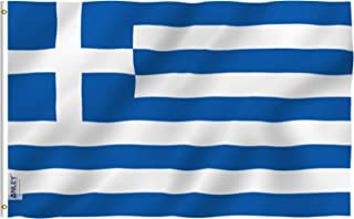 Anley Fly Breeze 3x5 Foot Greece Flag - Vivid Color and UV Fade Resistant - Canvas Header and Double Stitched - Greek National Flags Polyester with Brass Grommets 3 X 5 Ft
