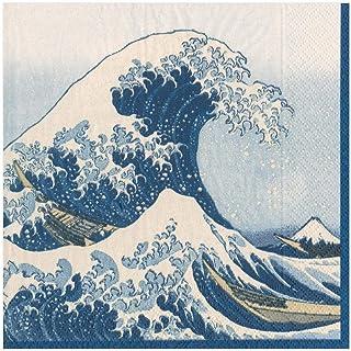 Caspari The Great Wave Paper diner servetten in blauw, vier verpakkingen van 20