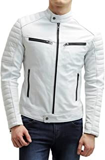 Motorcycle Street Gear Men Genuine Black Leather Motorcycle Jacket Size 6 Xl Jade White Coats & Jackets