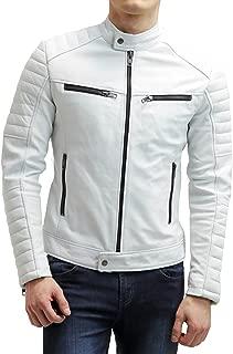 The Bombay Leather Co White Genuine Lambskin Leather Jacket Men Motorcycle Biker Size XS S M L XL XXL