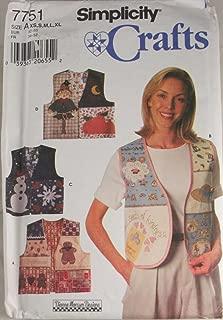 Simplicity Crafts 7751 Pattern Misses Vests Size A XS,S,M,L,XL