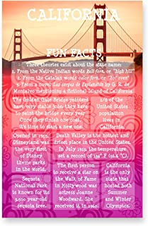 CALIFORNIA FUN FACTS postcard set of 20 identical postcards. US state trivia post card pack. Made in USA.