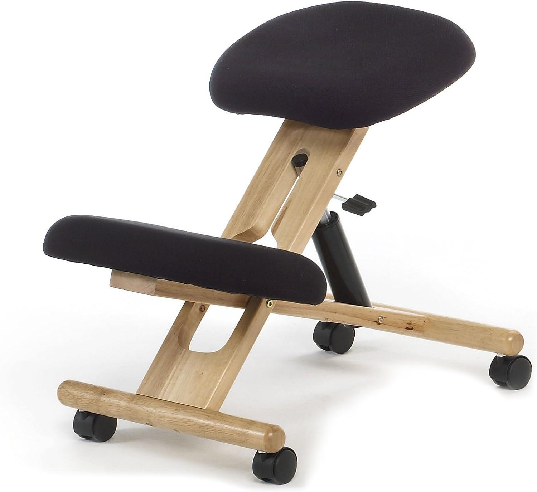 Kniestuhl mit Rollen und gepolstertem Stoffbezug schwarz hydraulisch Hhenverstellbare