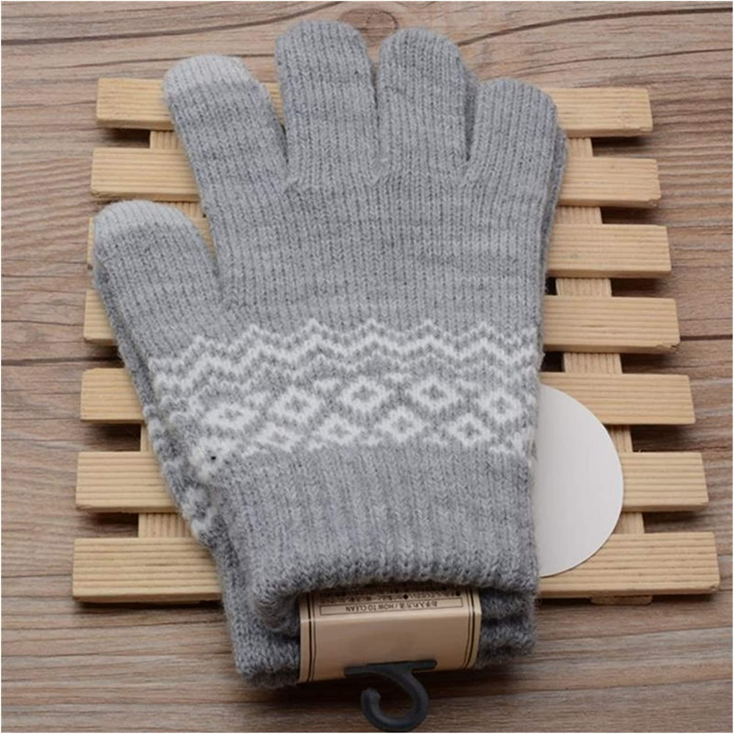 JBIVWW 4 Colors Winter Warm Knit Gloves Wave Touch Screen Durable Gloves Stretch Knit Gloves Mittens Perfect for Winter Casual (Color : Gray)
