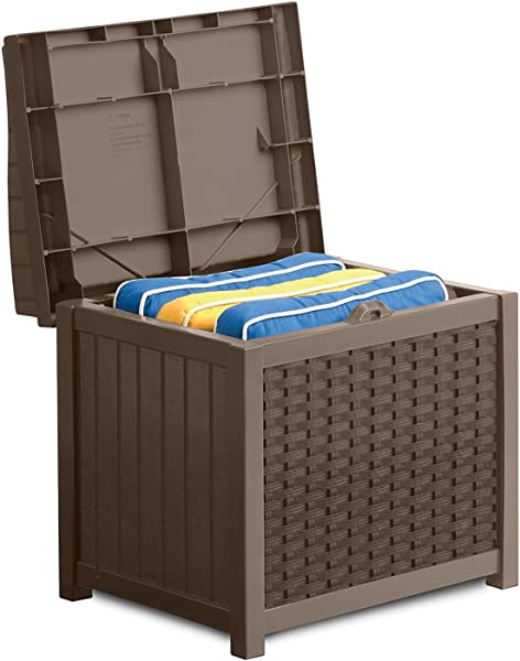 Suncast 22 Gallon Resin Storage Seat Contemporary Indoor And Outdoor Bin Stores Tools Toys And Accessories Mocha Wicker