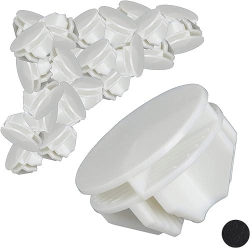Relaxdays Pièce de Fixation Raccord pour Armoire en Plastique 40x pièces cube de rangement blanc