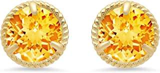 14k White or Yellow Gold Roped Halo Round-Cut Gemstone Stud Earrings (6mm)