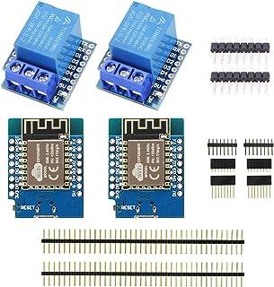 WayinTop 2Set NodeMcu Lua 4M Bytes WLAN WiFi Internet Development Board for ESP8266 + Relay Shield + 2.54mm 40Pin Single R...