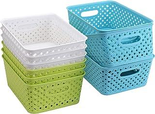 Bekith Lot de 9 paniers de rangement en plastique tissé panier organisateur de bacs pour salle de bain cuisine chambre, 27...