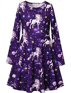 QPANCY فساتين طويلة الأكمام للفتيات يونيكورن حورية البحر القط التأرجح ملابس الخريف الشتاء