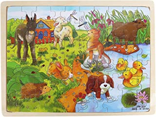 JMcall Wooden Farm pond Puzzle Educational Developmental Baby Kids Training Toy F(Multicolor)
