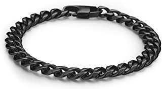 FIBO STEEL 6-8 mm Wide Curb Chain Bracelet for Men Women Stainless Steel High Polished,8.5-9.1""