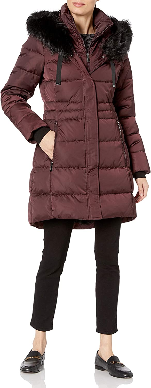 T Tahari Women's Stefani Heavyweight Fitted Puffer Coat with Faux Fur Hood