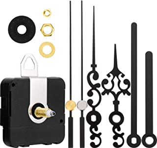 Long Shaft Clock Movement Mechanism Battery Operated DIY Repair Parts Replacement with 2 Pairs of Hands