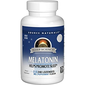 Source Naturals Sleep Science Melatonin 2.5 mg Peppermint Flavor - Helps Promote Sleep - 240 Lozenge Tablets