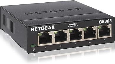 NETGEAR GS305 Switch 5 Port Gigabit Ethernet LAN Switch (Plug-and-Play Netzwerk Switch,..