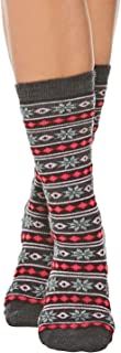 Tey-Art Women's Alpaca Wool Socks - Snowflakes & Stripes Winter Theme