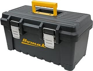 Homak Plastic Tool Box with Metal Latches, 16-Inch, Black, BK00216001