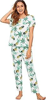 Shein Women's Printed Short Sleeve Top and Pants Sleepwear Pjs Lounge Set