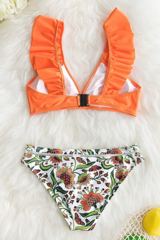 CUPSHE Damen Bikini Set R/üschen V Ausschnitt Bikini Swimsuit Low Rise Bademode Zweiteiliger Badeanzug