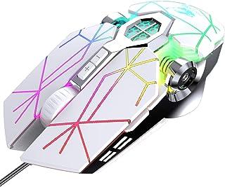 فأرة ألعاب سلكية، 7 أنواع LED USB مع خاصية مريحة للبرمجة، 4000 نقطة لكل بوصة من أجهزة الكمبيوتر ويندوز