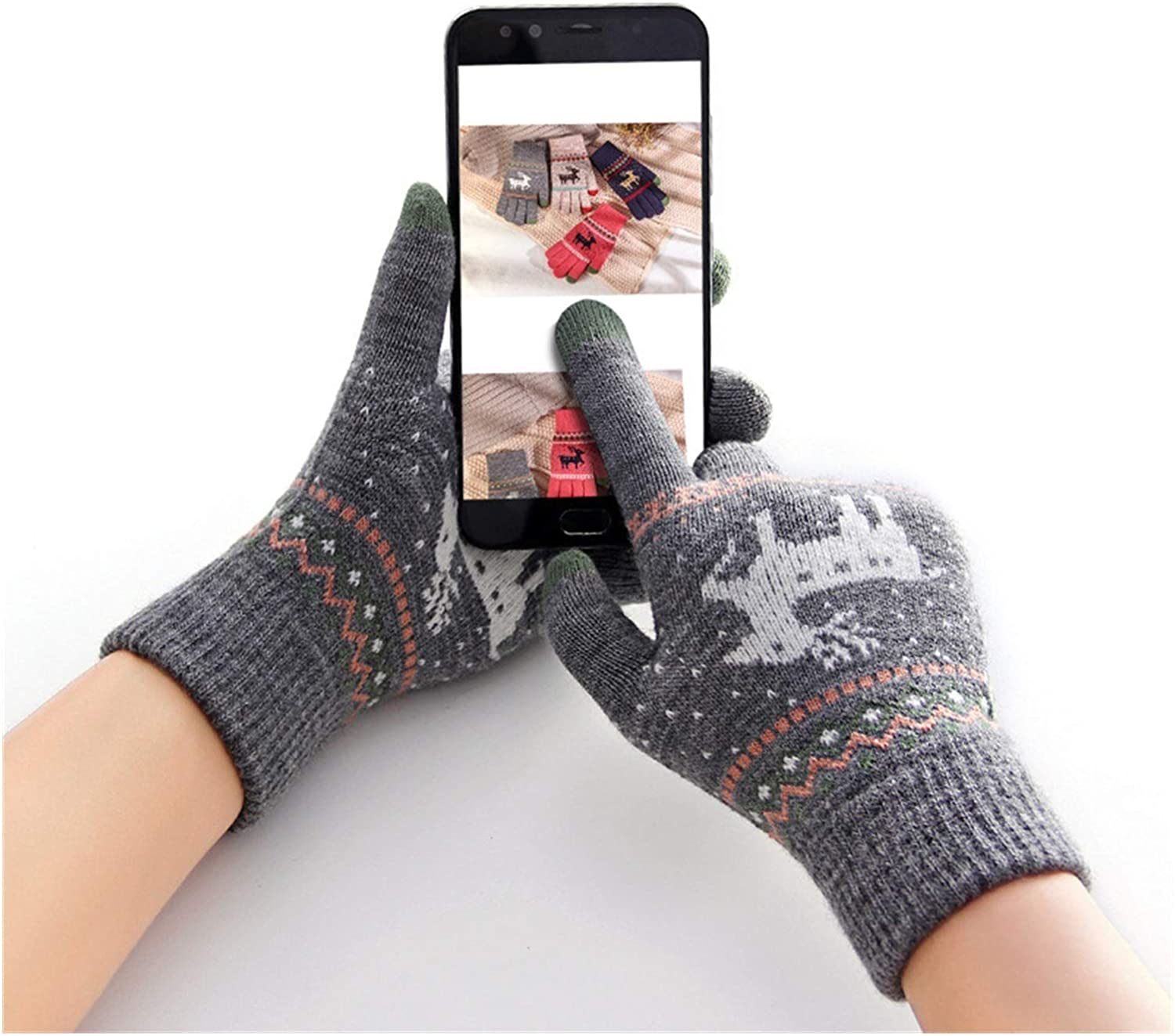 JBIVWW Fashion Knitted Thick Gloves for Men & Women Christmas Printed Warm Autumn Winter Full Finger Gloves (Color : Thick Rose Red)