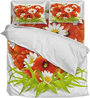 Lightweight Duvet Cover Set- Ladybugs Stand in Heart Shaped Chrysanthemums Soft Twill Plush Quilt Cover, Luxury Comfortable and Breathable Bedding Set Ultimate Soft 4 Pieces Bedding Collections, Queen