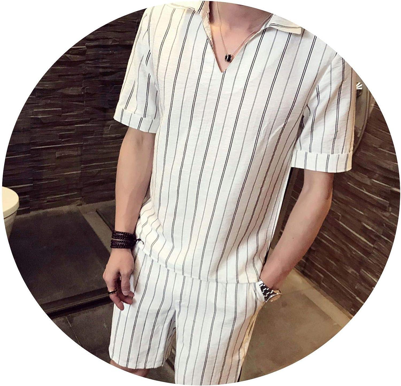 Kangkangmei V Shape Summer Men Set Two Piece Short Sleeve Shirt and Shorts Stripe Two Piece Set Club Fashion Stripe Set