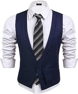 Men's Business Suit Vest Casual Layered Slim Fit Wedding Vests Skinny Dress Waistcoat