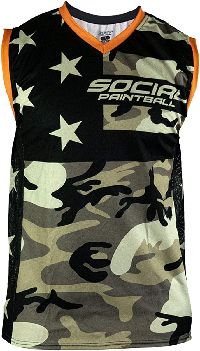Social Challenge store the lowest price Paintball Sleeveless Jersey American with Camo Side Mesh