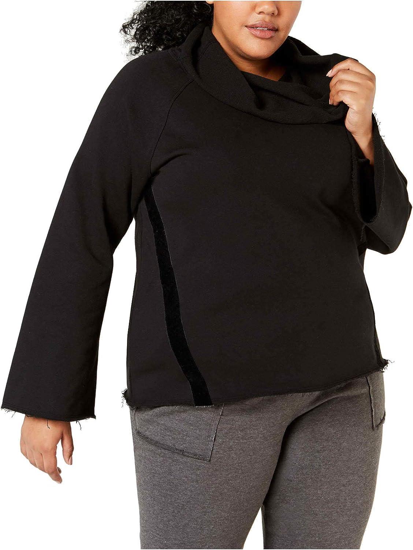 Ideology Plus Size Raw Edge Hem Wide Sleeve Pullover Sweatshirt