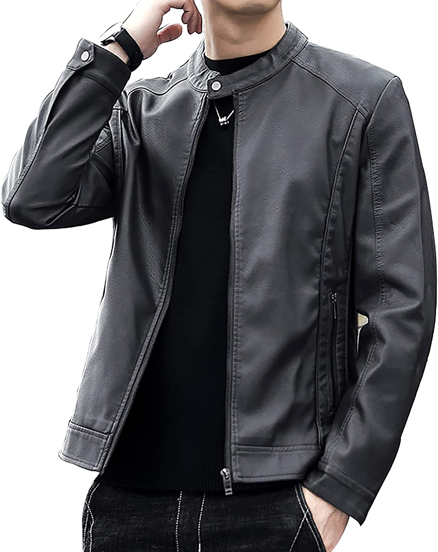 LZJDS Men's Plus Size Retro Fashion PU Leather Slim Stand Collar Jacket Zipper Outwear