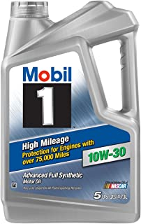 Mobil 1 (120770) High Mileage 10W-30 Motor Oil - 5 Quart