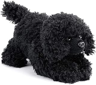 DEMDACO Poodle Stuffed Dog Curly Fuzzy Black 6 inch Plush Fabric Beanbag Figure Toy
