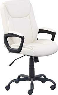 AmazonBasics Classic Puresoft PU-Padded Mid-Back Office Computer Desk Chair with Armrest - Cream
