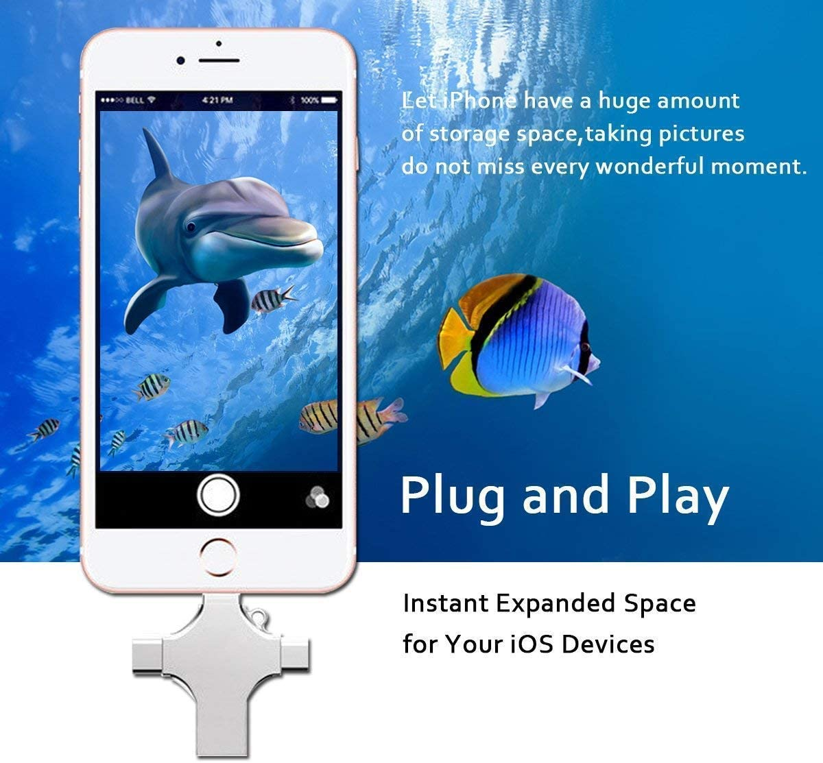B/&H-ERX USB Flash Drive,4 in 1 External Storage Expansion Memory Stick USB Type-C Ports for iPhone Ipad iOS Android Tablet Mac PC,16gb