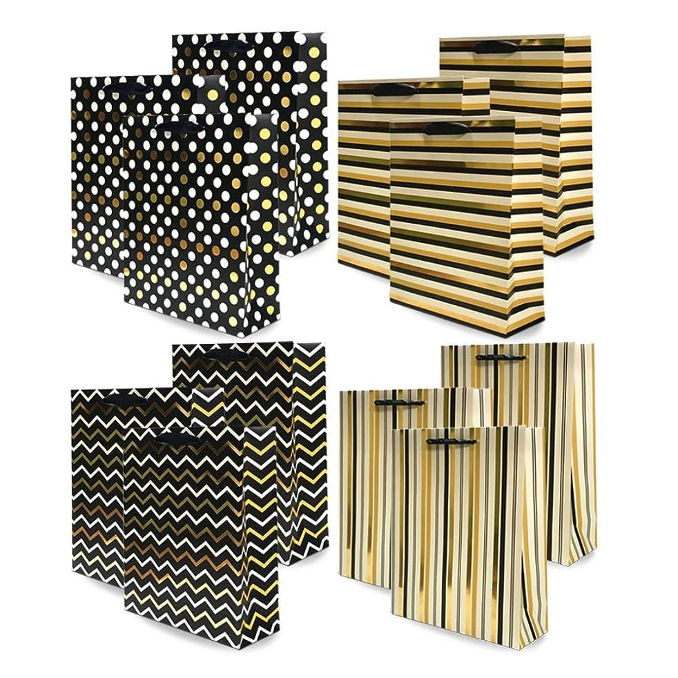 UNIQOOO 12Pcs Premium Large Black Gold Foil Metallic Gift Bags Bulk,12.5''x10.5X4'' 100% Recyclable Kraft Paper Retail Shopping Bags,Ribbon Handle/Wedding,Bridal Shower,Birthday Party,Holiday Gift Bag