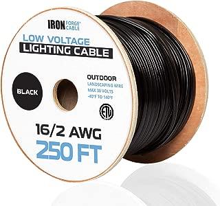 16/2 Low Voltage Landscape Wire - 250ft Outdoor Low-Voltage Cable for Landscape Lighting, Black
