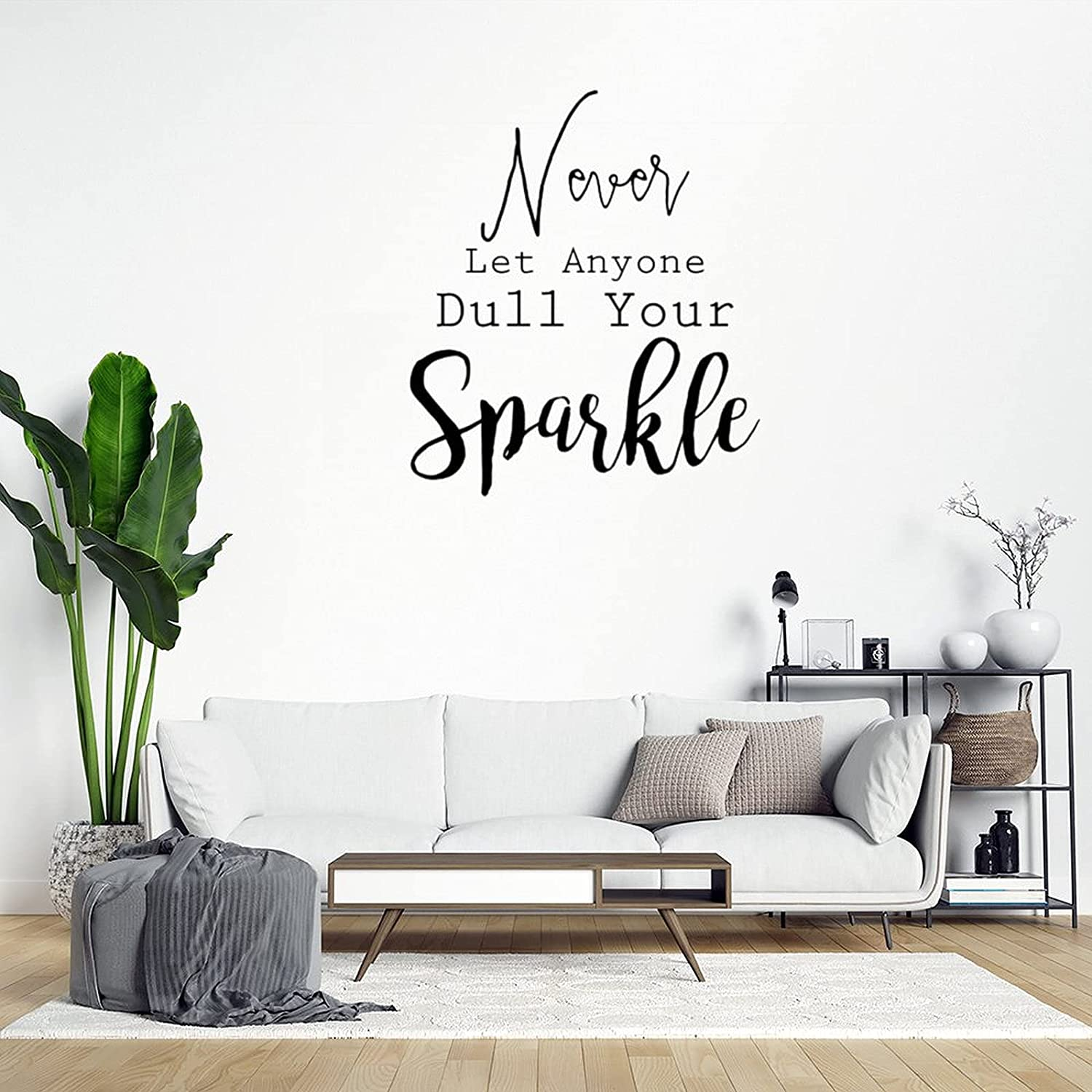 Never Let Anyone Dull Your Sparkle Wall Art Decor Vinyl Art Decal for Living Room Home, Wall Decals Stickers 15 Inch