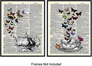 Vintage Teapot & Teacup On Photos of Dictionary Page - Unframed Wall Art Prints - Set of 2 - Great Home Decor For Kitchen, Dining Room - Easy Chic & Rustic Steampunk Gift -Ready to Frame (8x10) Photos